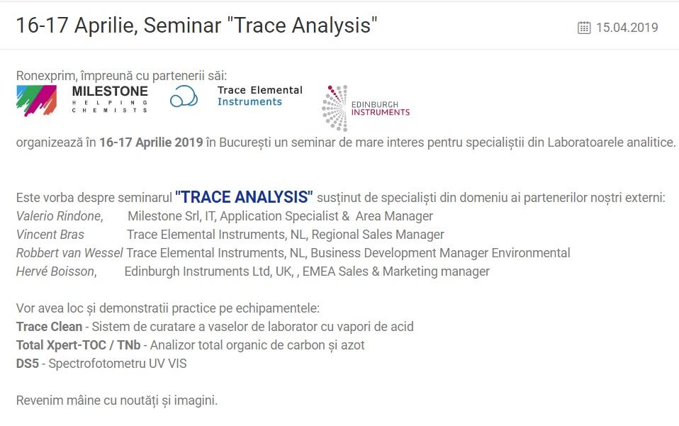 16-17 Aprilie, Seminar
