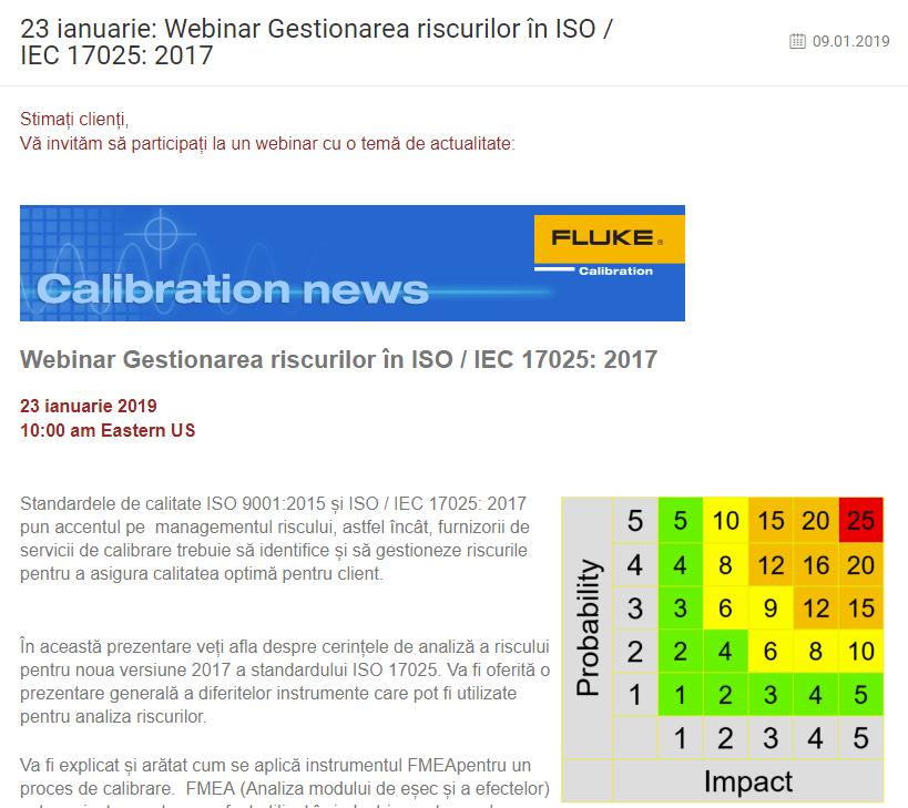 23 ianuarie: Webinar Gestionarea riscurilor în ISO / IEC 17025: 2017
