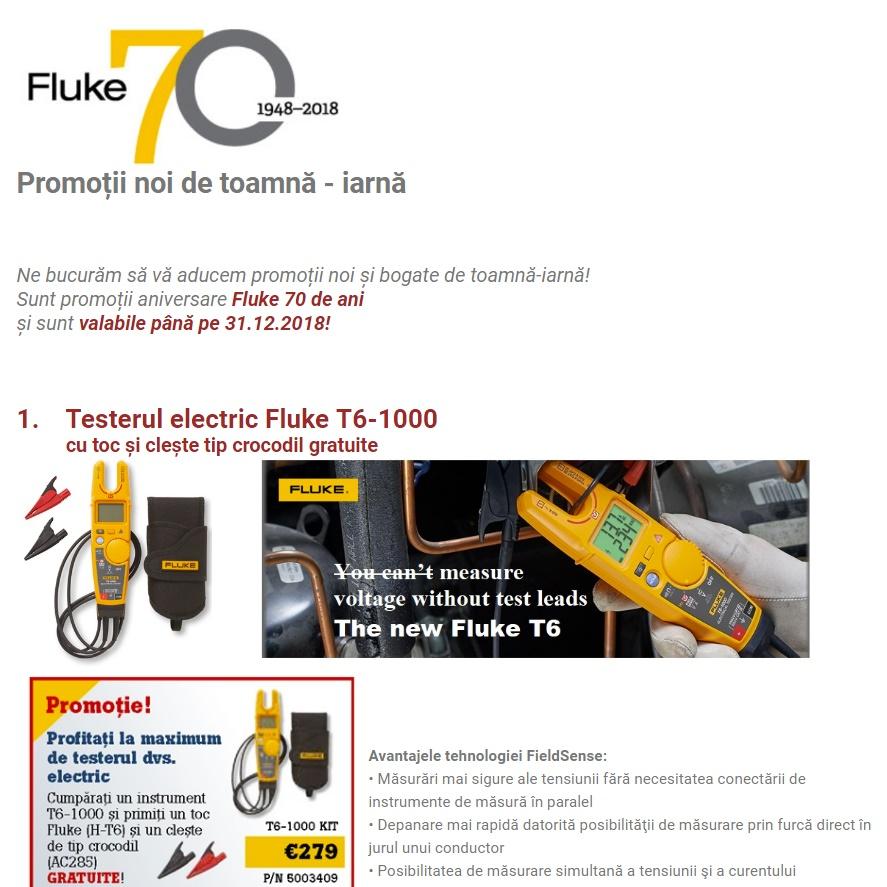Aniversare FLUKE 70 ani! - Promoții noi de toamnă - iarnă