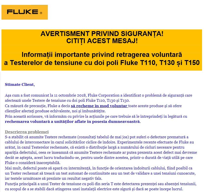 Anunț important! Retragere și înlocuire gratuită testere Fluke T110, T130 si T150