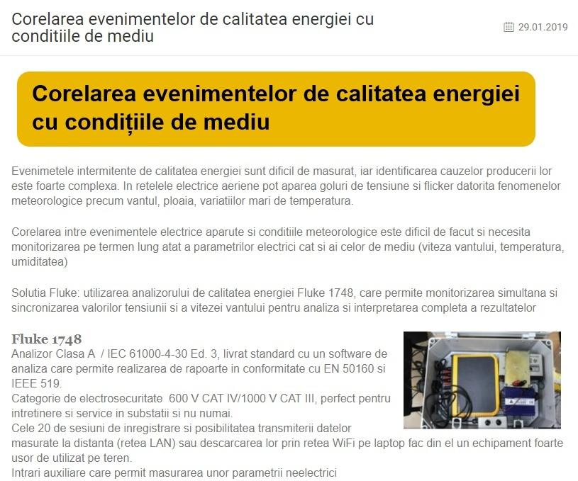 Corelarea evenimentelor de calitatea energiei cu conditiile de mediu