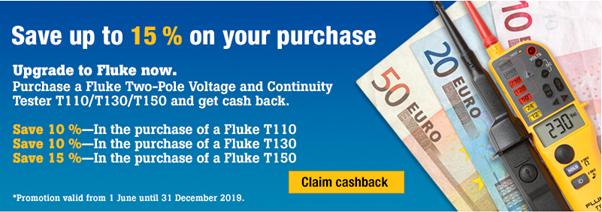 Cumperi un tester Fluke T150, T130, T110 și primești până la 15% înapoi!