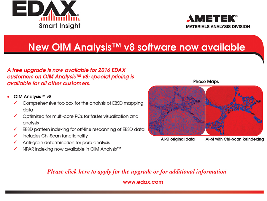 EDAX:  New OIM Analysis™ v8 Software Now Available