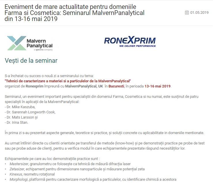 Eveniment de mare actualitate pentru domeniile Farma si Cosmetica: Seminarul MalvernPanalytical din 13-16 mai 2019