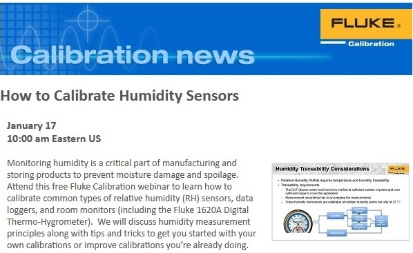 Free Webinar on January 17: How to Calibrate Humidity Sensors