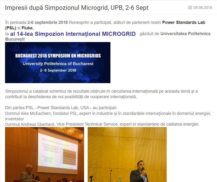 Impresii după Simpozionul Microgrid, UPB, 2-6 Sept