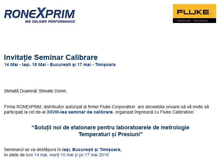 INVITATIE Seminar Fluke Calibration - Iasi (14 mai), Bucuresti (15 mai), Timisoara (17 mai)