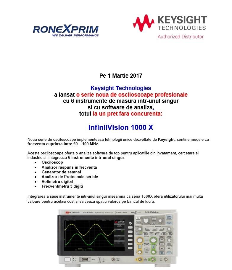 Lansare produs nou, de exceptie - Noua serie de osciloscoape Keysight InfiniiVision 1000X