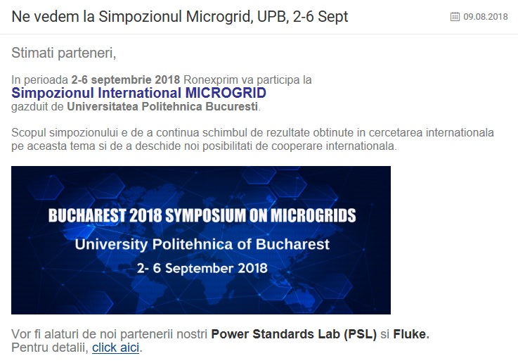 Ne vedem la Simpozionul Microgrid, UPB, 2-6 Sept