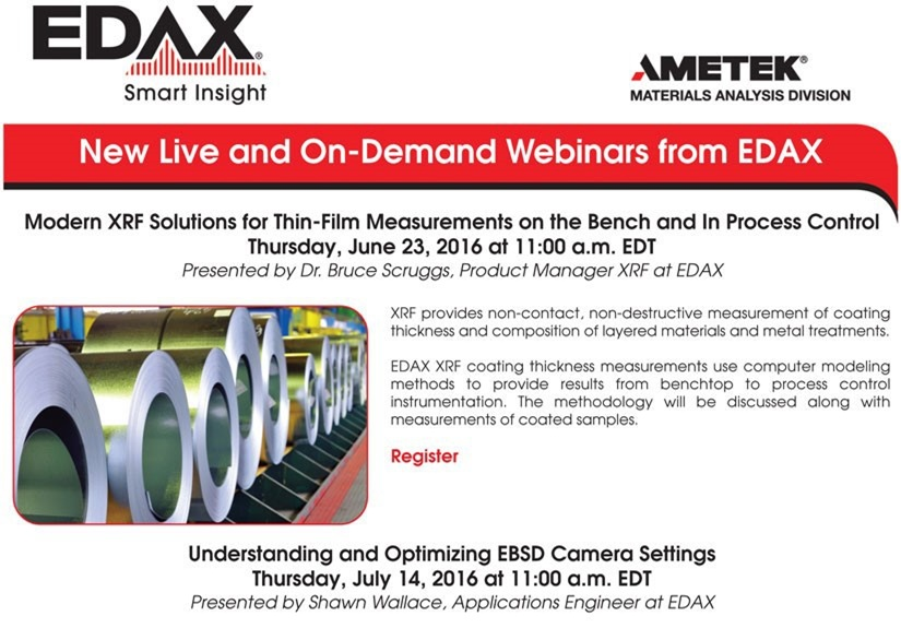 New Live and On-Demand Webinars from EDAX: June 2016