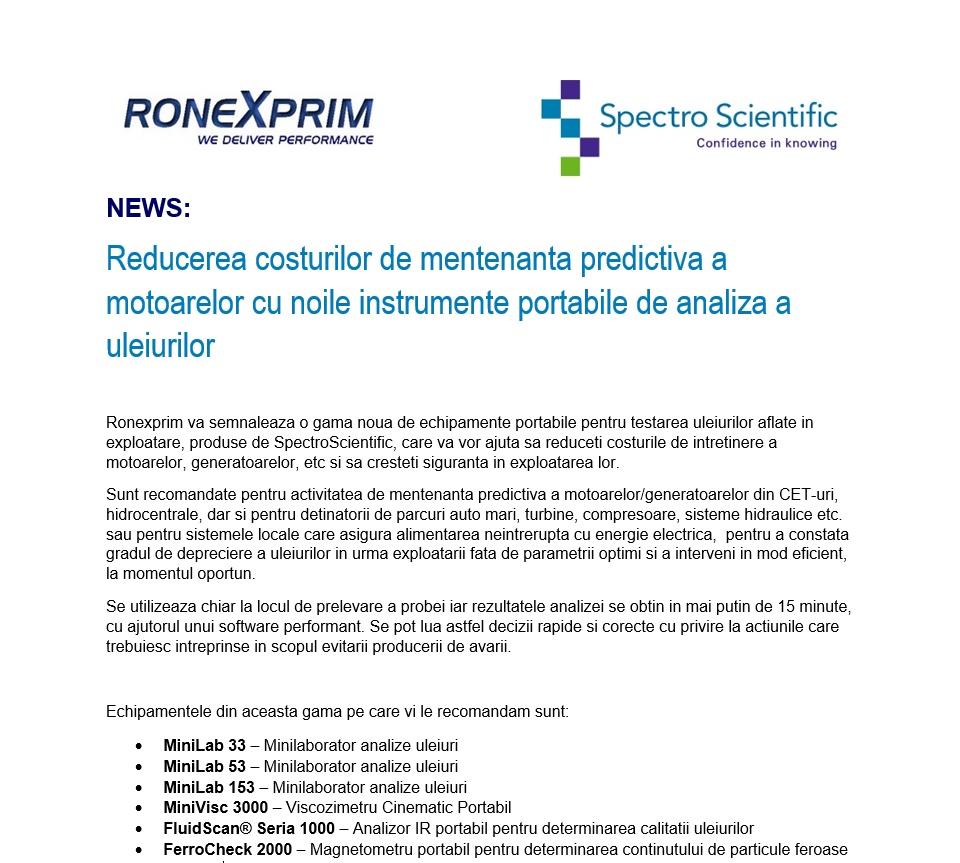 NEWS: Reducerea costurilor de mentenanta predictiva a motoarelor cu noile instrumente portabile de analiza a uleiurilor