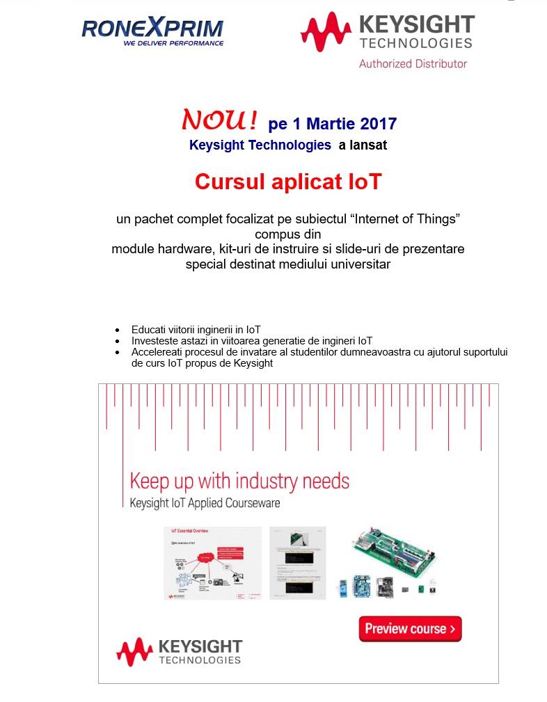 NOU! Keysight a lansat Cursul aplicat IoT, pachet complet focalizat pe subiectul