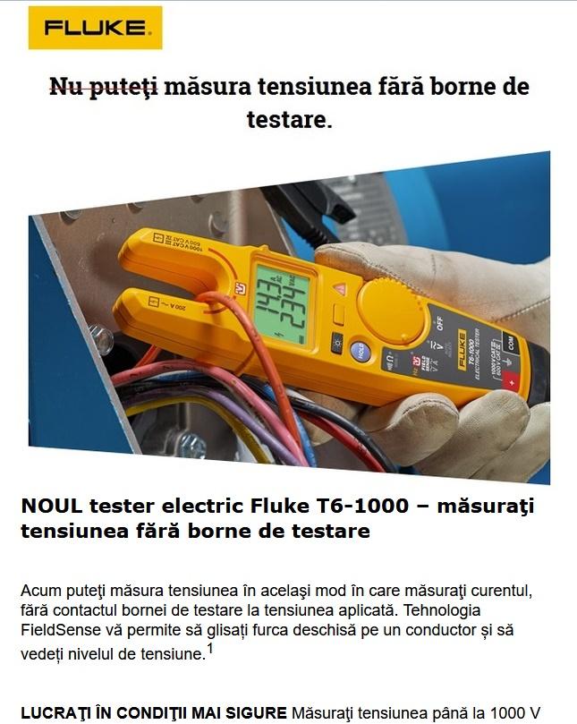NOUL tester electric Fluke T6-1000 masoara tensiunea fara borne de testare!