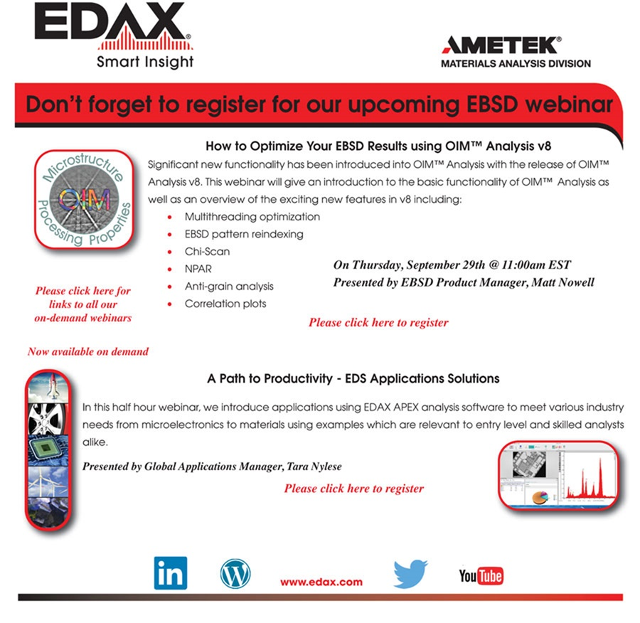 Register for Today's EDAX EBSD Webinar