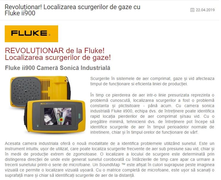 Revoluționar!  Localizarea scurgerilor de gaze cu Fluke ii900