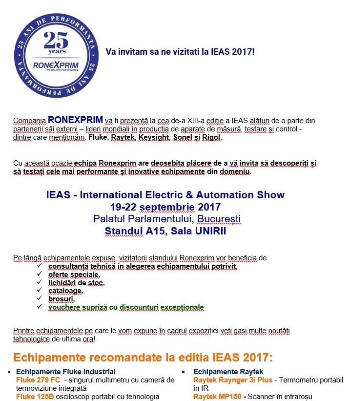 Ronexprim vă invită la IEAS 2017 !