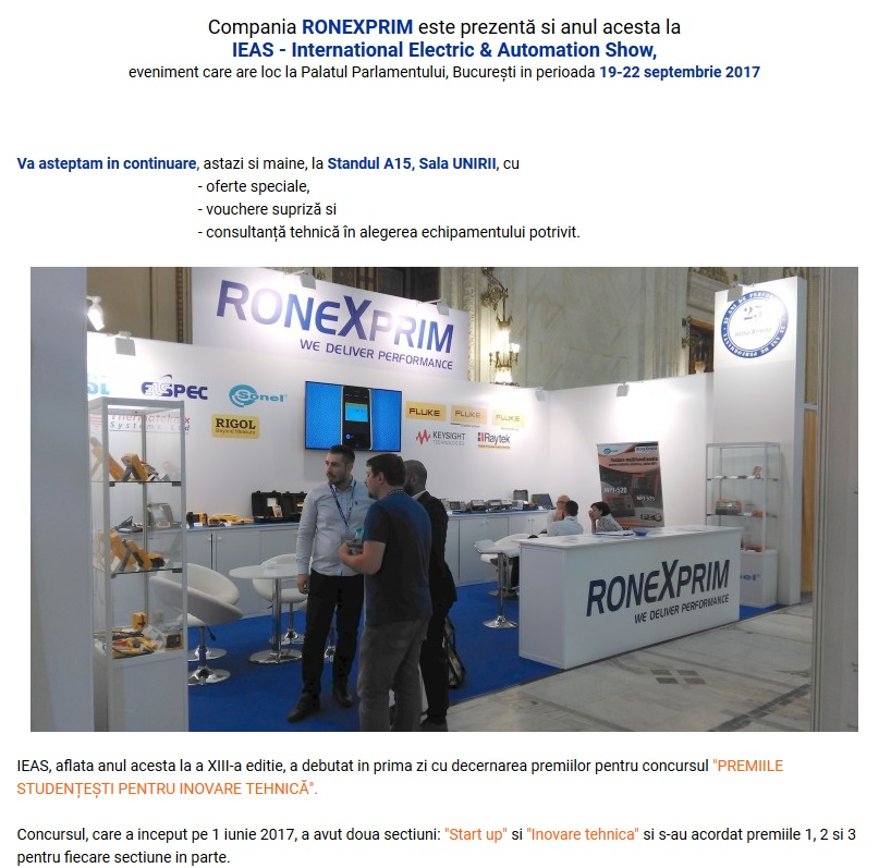 Ronexprim va asteapta la IEAS 2017!