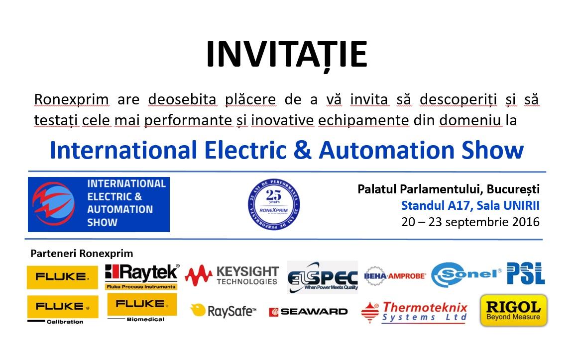 Ronexprim va fi prezentă la cea de-a XII-a ediție a International Electric & Automation Show (IEAS)