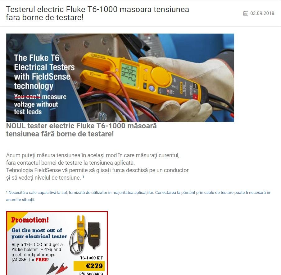 Promoție! Testerul electric Fluke T6-1000 măsoară tensiunea fără borne de testare!