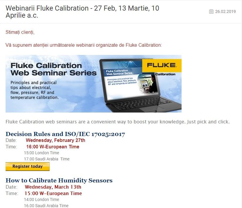 Webinarii Fluke Calibration - 27 Feb, 13 Martie, 10 Aprilie a.c.